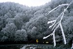 Photograph of rime ice and old highway Sam's Gap (NC-TN).  Copyright Chris Bell.