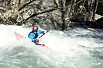 Jim Sheppard in his kayak paddling Monster, Upper Big Creek (NC).  Copyright Chris Bell.