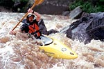 Bob Hathcock in his kayak paddling the Cheoah (NC).  Copyright Chris Bell.