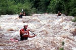 Brian Miller and Charlie Walbridge in his decked canoe paddling the Cheoah (NC).  Copyright Chris Bell.